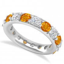 Diamond & Citrine Eternity Wedding Band 14k White Gold (4.20ct)