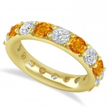Diamond & Citrine Eternity Wedding Band 14k Yellow Gold (4.20ct)