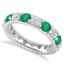 Diamond & Emerald Eternity Wedding Band 14k White Gold (4.20ct)