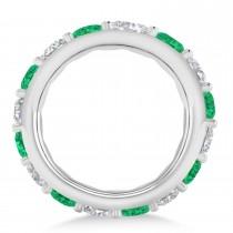 Diamond & Emerald Eternity Wedding Band 14k White Gold (4.20ct)