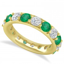 Diamond & Emerald Eternity Wedding Band 14k Yellow Gold (4.20ct)