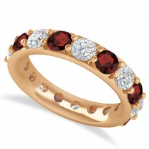 Diamond & Garnet Eternity Wedding Band 14k Rose Gold (4.20ct)