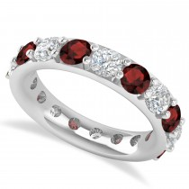 Diamond & Garnet Eternity Wedding Band 14k White Gold (4.20ct)