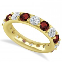 Diamond & Garnet Eternity Wedding Band 14k Yellow Gold (4.20ct)