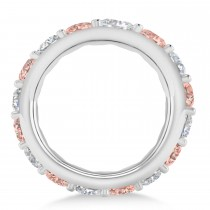Diamond & Morganite Eternity Wedding Band 14k White Gold (4.20ct)