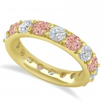 Diamond & Morganite Eternity Wedding Band 14k Yellow Gold (4.20ct)