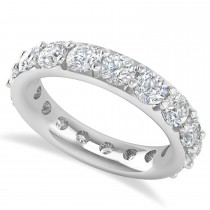 Diamond & Moissanite Eternity Wedding Band 14k White Gold (4.20ct)