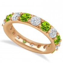 Diamond & Peridot Eternity Wedding Band 14k Rose Gold (4.20ct)