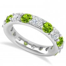 Diamond & Peridot Eternity Wedding Band 14k White Gold (4.20ct)