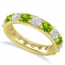 Diamond & Peridot Eternity Wedding Band 14k Yellow Gold (4.20ct)