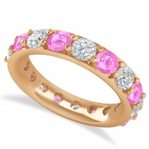 Diamond & Pink Sapphire Eternity Wedding Band 14k Rose Gold (4.20ct)