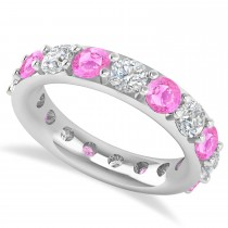 Diamond & Pink Sapphire Eternity Wedding Band 14k White Gold (4.20ct)