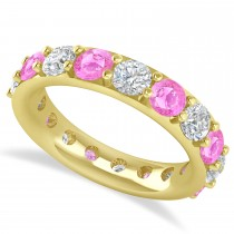 Diamond & Pink Sapphire Eternity Wedding Band 14k Yellow Gold (4.20ct)