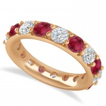 Diamond & Ruby Eternity Wedding Band 14k Rose Gold (4.20ct)