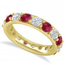 Diamond & Ruby Eternity Wedding Band 14k Yellow Gold (4.20ct)