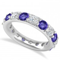 Diamond & Tanzanite Eternity Wedding Band 14k White Gold (4.20ct)