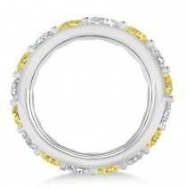 Yellow & White Diamond Eternity Wedding Band 14k White Gold (4.20ct)