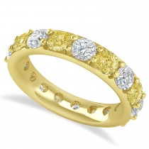 Yellow & White Diamond Eternity Wedding Band 14k Yellow Gold (4.20ct)