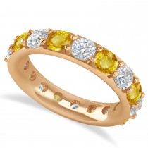 Diamond & Yellow Sapphire Eternity Wedding Band 14k Rose Gold (4.20ct)