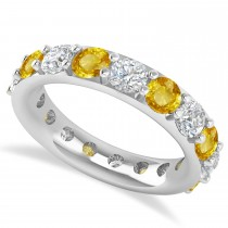 Diamond & Yellow Sapphire Eternity Wedding Band 14k White Gold (4.20ct)