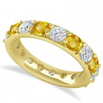 Diamond & Yellow Sapphire Eternity Wedding Band 14k Yellow Gold (4.20ct)