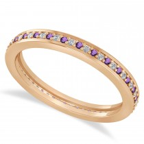 Diamond & Amethyst Eternity Wedding Band 14k Rose Gold (0.28ct)