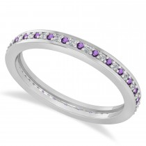 Diamond & Amethyst Eternity Wedding Band 14k White Gold (0.28ct)