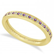Diamond & Amethyst Eternity Wedding Band 14k Yellow Gold (0.28ct)