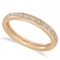 Diamond & Aquamarine Eternity Wedding Band 14k Rose Gold (0.28ct)