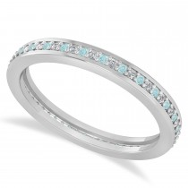 Diamond & Aquamarine Eternity Wedding Band 14k White Gold (0.28ct)