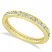 Diamond & Aquamarine Eternity Wedding Band 14k Yellow Gold (0.28ct)