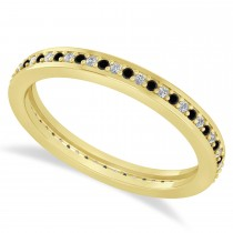 Black & White Diamond Eternity Wedding Band 14k Yellow Gold (0.28ct)