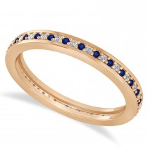 Diamond & Blue Sapphire Eternity Wedding Band 14k Rose Gold (0.28ct)