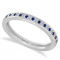Diamond & Blue Sapphire Eternity Wedding Band 14k White Gold (0.28ct)