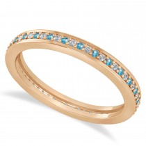 Diamond & Blue Topaz Eternity Wedding Band 14k Rose Gold (0.28ct)