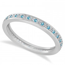 Diamond & Blue Topaz Eternity Wedding Band 14k White Gold (0.28ct)