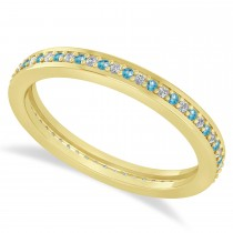 Diamond & Blue Topaz Eternity Wedding Band 14k Yellow Gold (0.28ct)