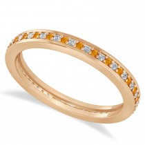 Diamond & Citrine Eternity Wedding Band 14k Rose Gold (0.28ct)