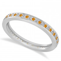 Diamond & Citrine Eternity Wedding Band 14k White Gold (0.28ct)