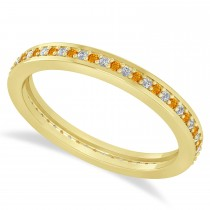 Diamond & Citrine Eternity Wedding Band 14k Yellow Gold (0.28ct)