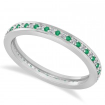 Diamond & Emerald Eternity Wedding Band 14k White Gold (0.28ct)