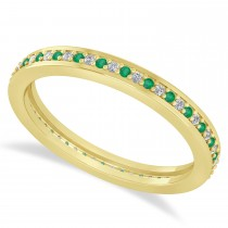 Diamond & Emerald Eternity Wedding Band 14k Yellow Gold (0.28ct)