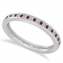Diamond & Garnet Eternity Wedding Band 14k White Gold (0.28ct)