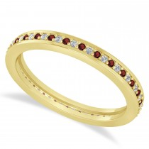 Diamond & Garnet Eternity Wedding Band 14k Yellow Gold (0.28ct)