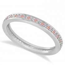Diamond & Morganite Eternity Wedding Band 14k White Gold (0.28ct)