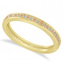 Diamond & Morganite Eternity Wedding Band 14k Yellow Gold (0.28ct)