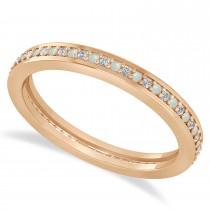 Diamond & Opal Eternity Wedding Band 14k Rose Gold (0.28ct)