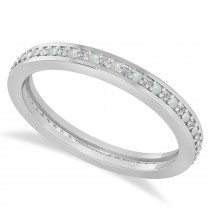 Diamond & Opal Eternity Wedding Band 14k White Gold (0.28ct)