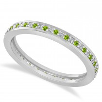 Diamond & Peridot Eternity Wedding Band 14k White Gold (0.28ct)