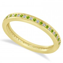 Diamond & Peridot Eternity Wedding Band 14k Yellow Gold (0.28ct)
